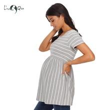 Striped Loose Maternity Tunic Tops Women Tee Shirt Womens Clothing Plus Size Ruffles A-line T-shirt Pregnancy Tee Women Tees