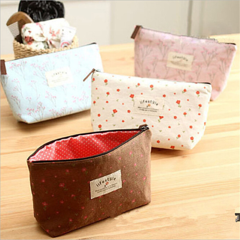 Women Cosmetic Bags Fresh Cute Canvas Multifunction Floral Makeup Organizer Bag Lady Toiletry Travel Bags