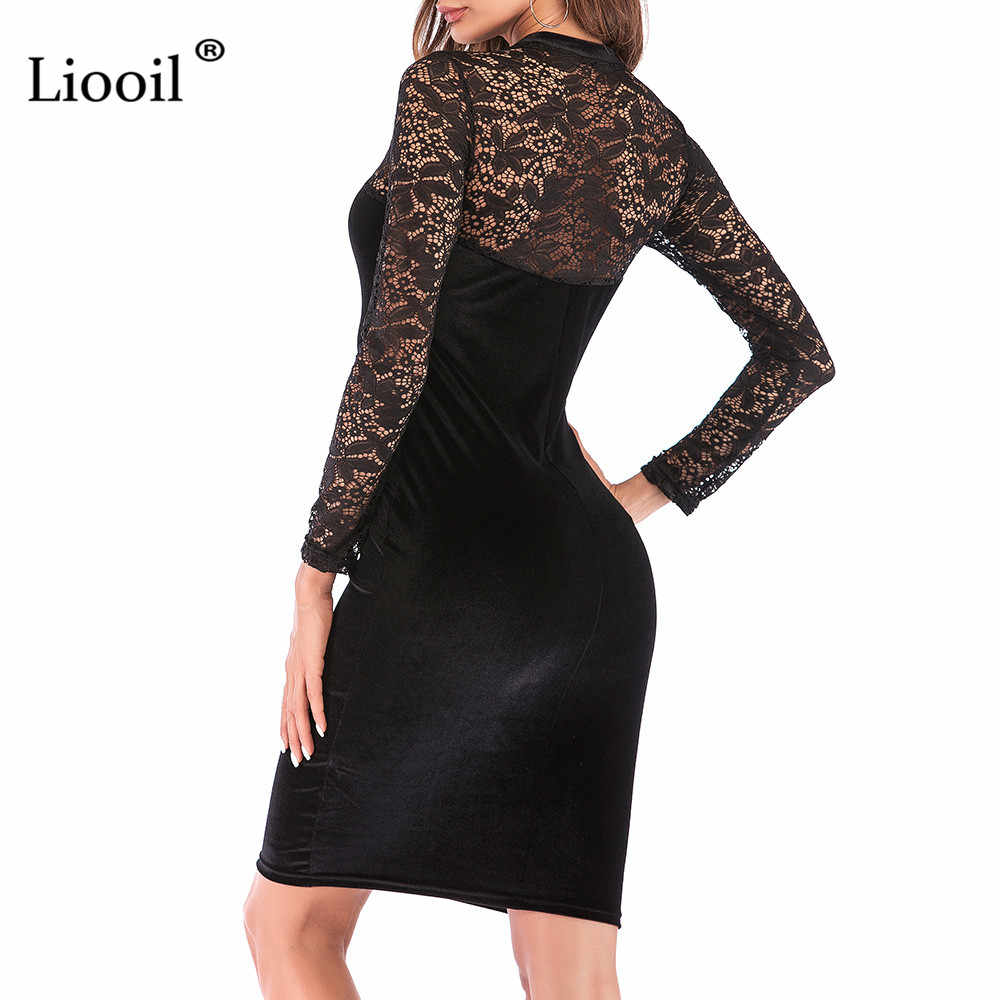 0d33d31fc4 ... Liooil Sexy Lace Velvet Christmas Dress Women New 2019 Spring Casual  Womens Clothing Red Green Black ...