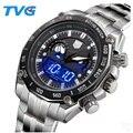 TVG Marca de Luxo Homens Relógio Do Esporte Digital LED Assista 30 M Movimentos Dupla Relógio Relogio masculino de Aço Inoxidável Relógios À Prova D' Água