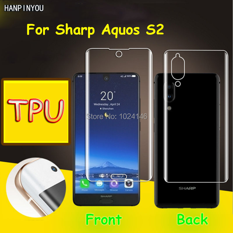 Front/Back Full Coverage Clear Soft TPU Film Screen Protector For Sharp Aquos S2 S3 mini S3mini, Cover Curved Parts (Not Glass)