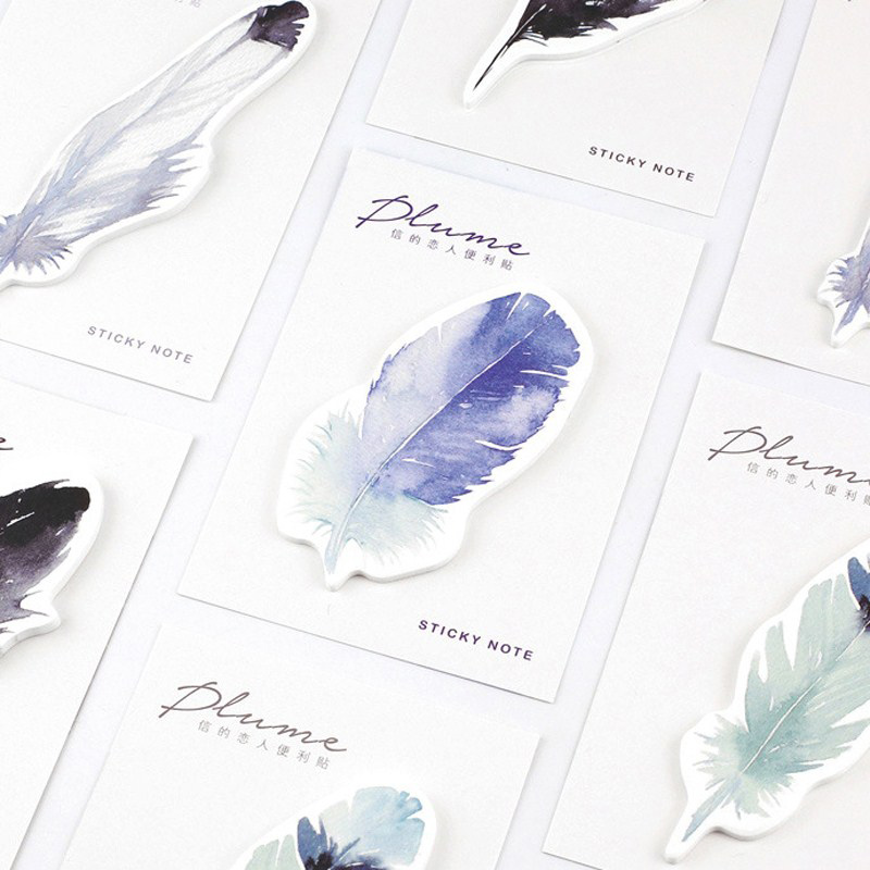Cute Kawaii Creative Watercolor Feather Sticky Note Memo Pad Post It Note Office Planner Sticker Paper Korean School Stationery