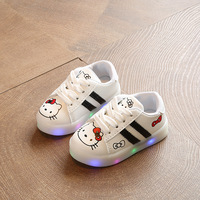 Pure Solid White Casual Toddler First Walkers Hook Loop Breathable Light Kids Sneakers High Quality Hot