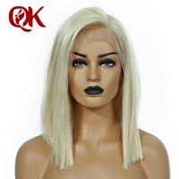 QueenKing волос синтетические волосы на кружеве парик 180% Платина блондинка 613 боб парик шелковистые прямые бесплатная часть предварительно