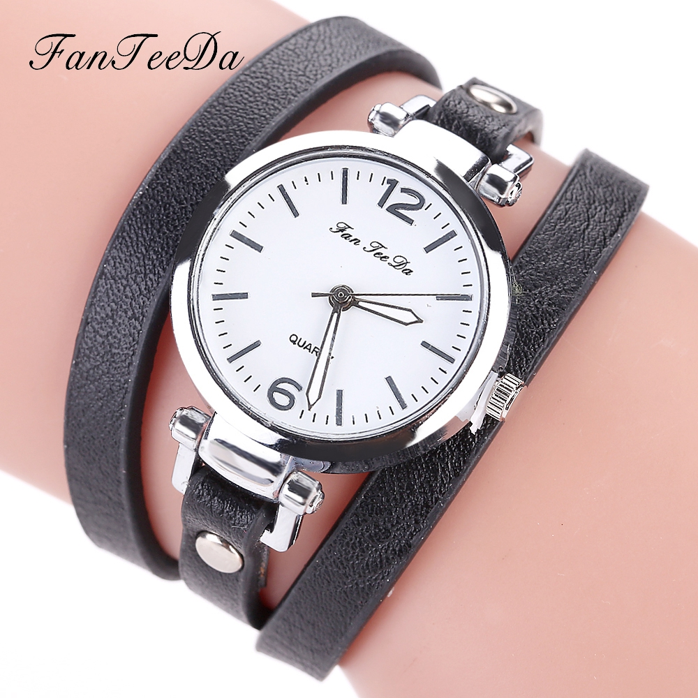 Fanteeda female brand women watch quartz clock ladies wristwatch pu leather luxury casual watch for Casual watches