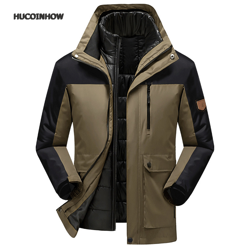 Men's Outdoor Hiking Jacket Men Detachable Winter Jacket Waterproof Windproof Men Windbreaker Warm Jacket Coat Mountaineer yin qi shi man winter outdoor shoes hiking camping trip high top hiking boots cow leather durable female plush warm outdoor boot