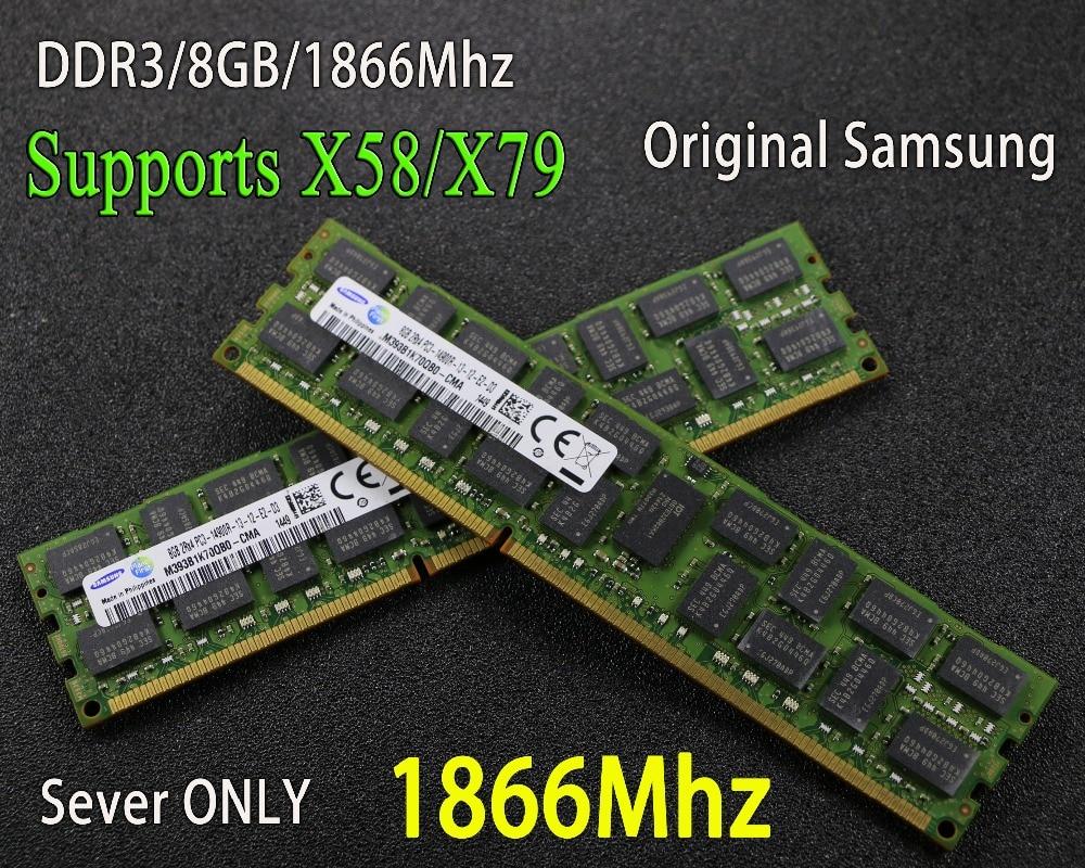 Original Samsung 8 GB DDR3 1333 MHz 1600 MHz 1866 MHz 8g 1333 1600 1866 ECC REG memoria del servidor RAM 16 GB 16G 32 GB 32G x79 x58 2011