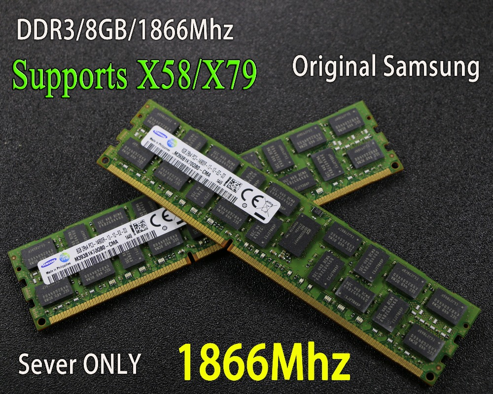 Original Samsung 8 gb DDR3 1333 mhz 1600 mhz 1866 mhz 8g 1333 1600 1866 REG ECC server speicher RAM 16 gb 16g 32 gb 32g x79 x58 2011