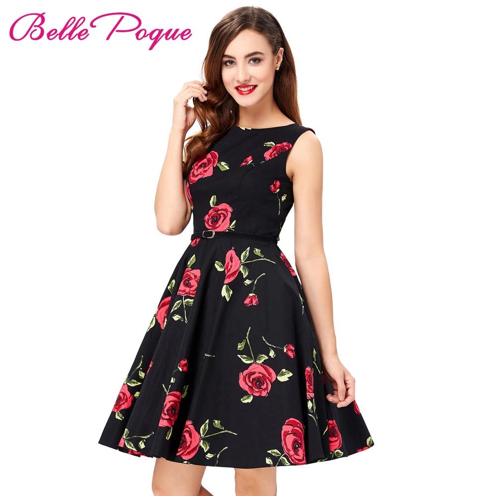 2018 Sommerkleider Frauen Pinup Floral Retro Robe Dot Rockabilly ...