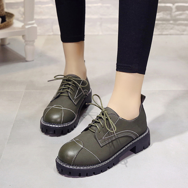 Weweya 2017 Women Shoes Students Lace Up Shoes Ballet Flats Casual Vans  Women Oxfords Shoes Green Sewing Shoes b4b666a0c16b