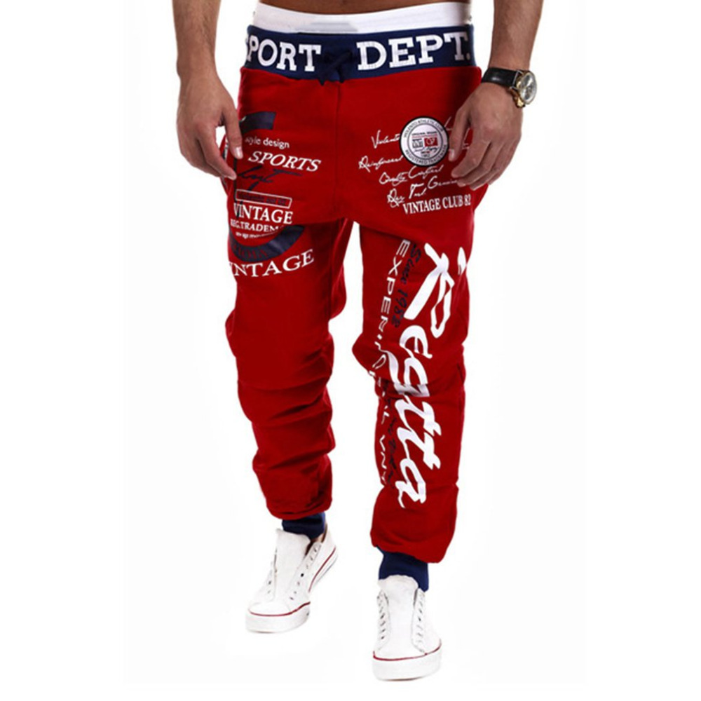 Men's Jogger Trousers Cotton Loose Personality Letter Design &Elastic Waist Men Hip Pop Trousers Casual Men Graffiti Cross Pants