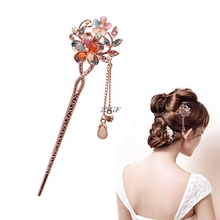 2017 Elegant Charm Double Flowers Bobby Pin Mixed Color Hairpin Rhinestone Hair Stick JUL31_50