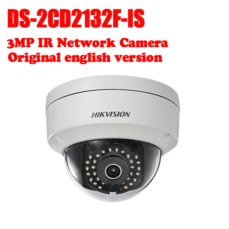 Hikvision DS-2CD2132F-IS International version 3MP CCTV dome camera POE, IR, mini IP security camera H.264 16pcs lot hikvision ds 2cd2735f is ip camera 3mp full hd ip66 dome camera water proof poe power network ir