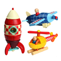1PC wooden vehicle blocks baby wood assemble DIY airplane /rocket /helicopter toys kids Children early learning educational toys