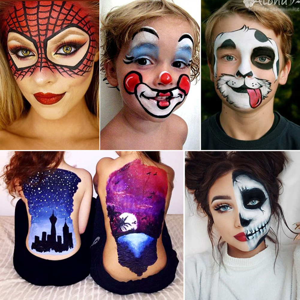 Dropshipping 12 Colors Flash Tattoo Face Body Paint Oil Painting Art Halloween Party Fancy Dress Devil Beauty Makeup Tool