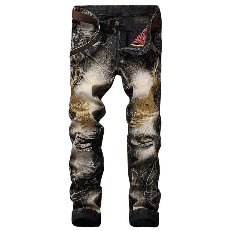 Laamei Men Jeans Pants 2018 Spring Autumn New Slim Retro Embroidery Print Holes Denim Trousers Straight Pantalon Plus Size 42