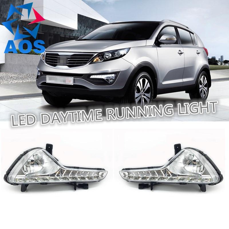 2PCs/set LED DRL light Car daylight Daytime Running Lights For KIA Sportage R 2010 2011 2012 2013 внешние аксессуары myhung kia sportage 2010 2011 r abs 4