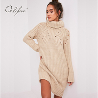 Ordifree 2017 Autumn Winter Women Turtleneck Sweater Dress Long Sleeve Loose Warm Thick Elegant Lady Shift