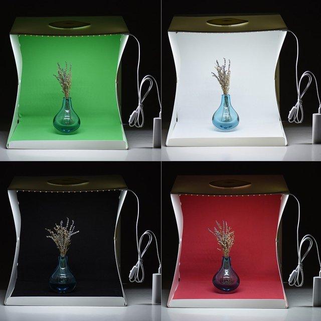 2 LED Folding Lightbox 40*40 Portable Photography Photo Studio Softbox Background Kit  Light Box For DSLR Camera 2
