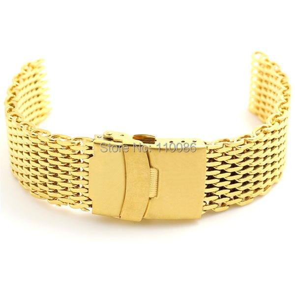 Golden 18mm Band Width Stainless Steel Mesh Web Watch Strap Bracelet Gold Mens Womens