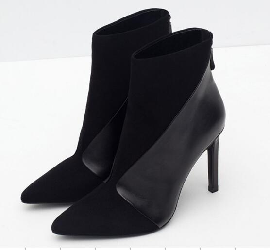 Black Matt/Suede Leather Patchwork Women Pointed Toe Ankle Boots Elegant Style Ladies Thin Heel Boots Zipper Back Party Shoes top brand unique design black suede boots back front lace up fastening dress boots trendy ladies footwear thin high heel shoes