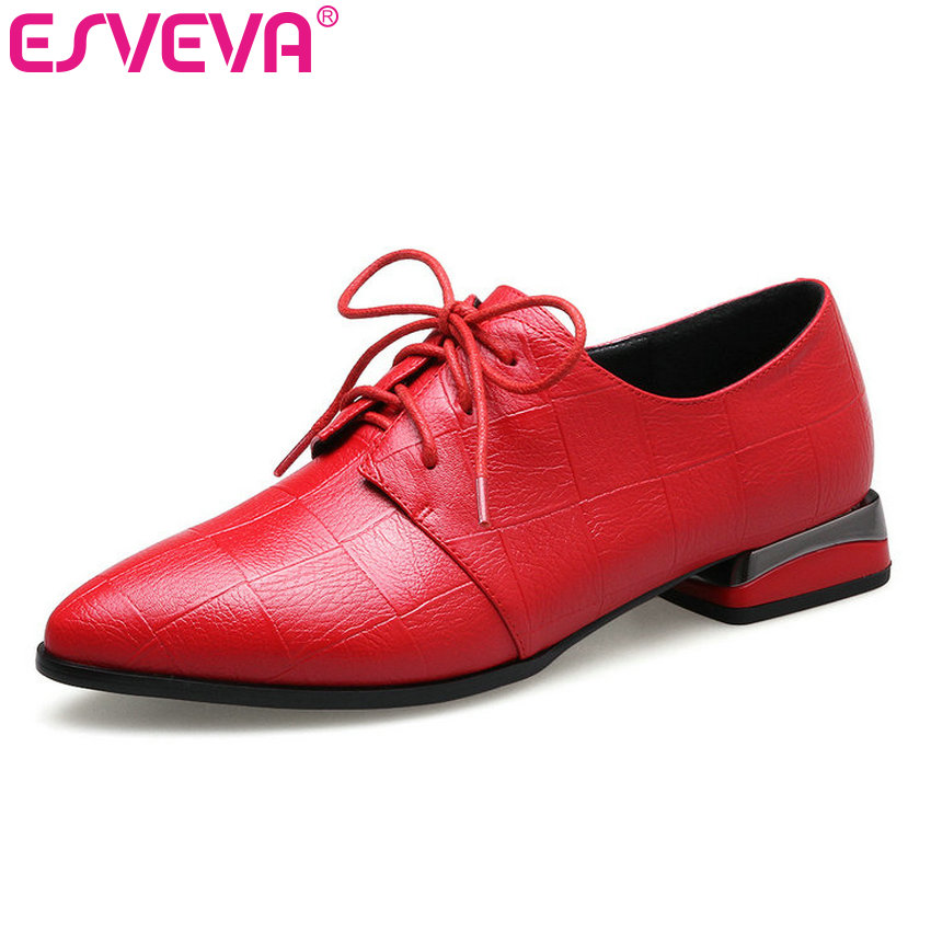 ESVEVA 2018 Women Pumps Pointed Toe British Style Casual Shoes Spring Autumn Pumps Black Gray  Square Low Heel Pumps Size 34-43 xiaying smile new spring autumn women pumps british style fashion casual lace shoes square heel pointed toe canvas rubber shoes