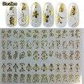 BlueZoo 1 Hoja de Oro Decoración de Uñas de Diseño 3D Nail Art Stickers Decals Láminas Accesorios Tatuajes de Pegatinas Para Uñas Herramientas de Belleza