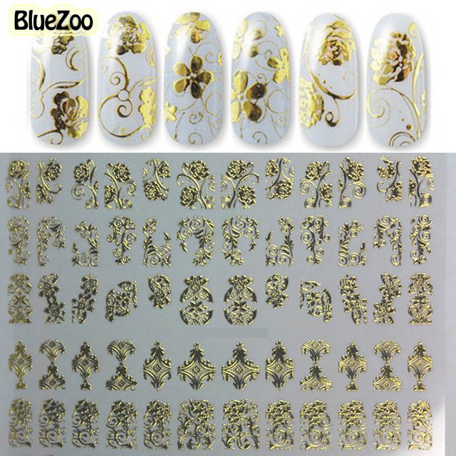 Bluezoo 1 sheet gold stickers 3d nail art decals manicure bluezoo 1 sheet gold stickers 3d nail art decals manicure decoration design foils beauty stickers for prinsesfo Image collections