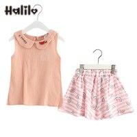 Halilo Girls Summer Sets Vest Skirt 2pcs Summer Cute Kids Gift Clothing Girls Boutique Outfits Children