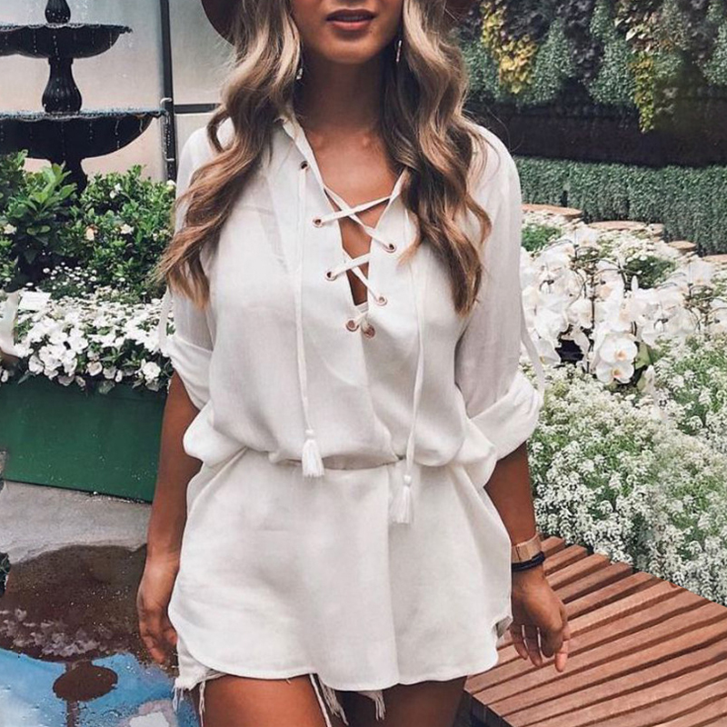 Solid Color V Neck Full Sleeve Cross Bandage Women Loose Blouses 2019 New Chic Black White Spring Summer Beach Girls Shirt in Blouses amp Shirts from Women 39 s Clothing