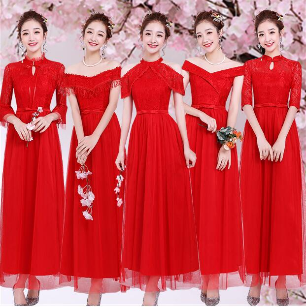 Sweet Memory Plus Size Red Bridesmaid Dresses Three Quarter Vintage Bridesmaid Dress Size 2 to Size 16 SB1967