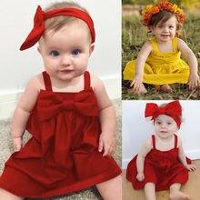 Bowknot Short Mini Vest Dress Toddler Kids Outfit