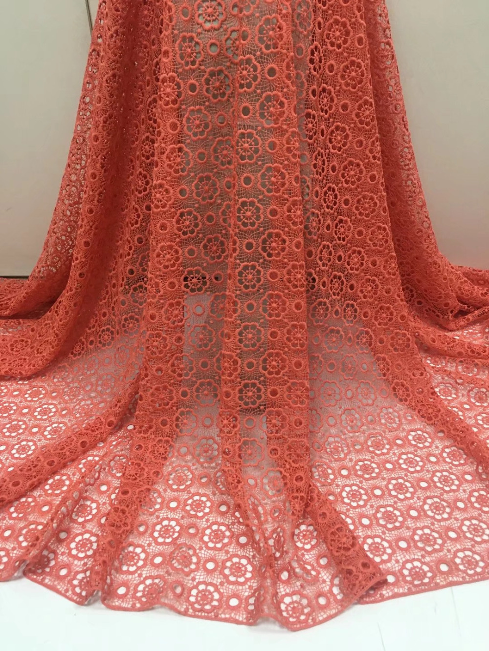 """3.8 Yards 6.5/"""" Wide Stretch Floral Lace Peach 186"""