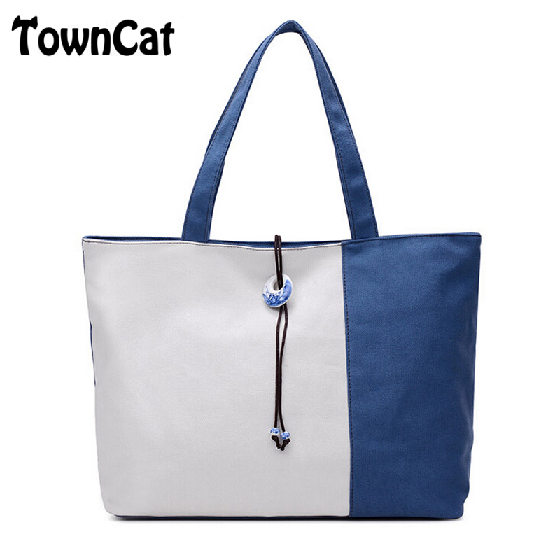 Women s Casual Blue and White Porcelain Beads Decorate Canvas Top handle Tote  Purse Handbags Shoulder Bag Travel Shopping Bag-in Top-Handle Bags from ... b797acc4c9e45
