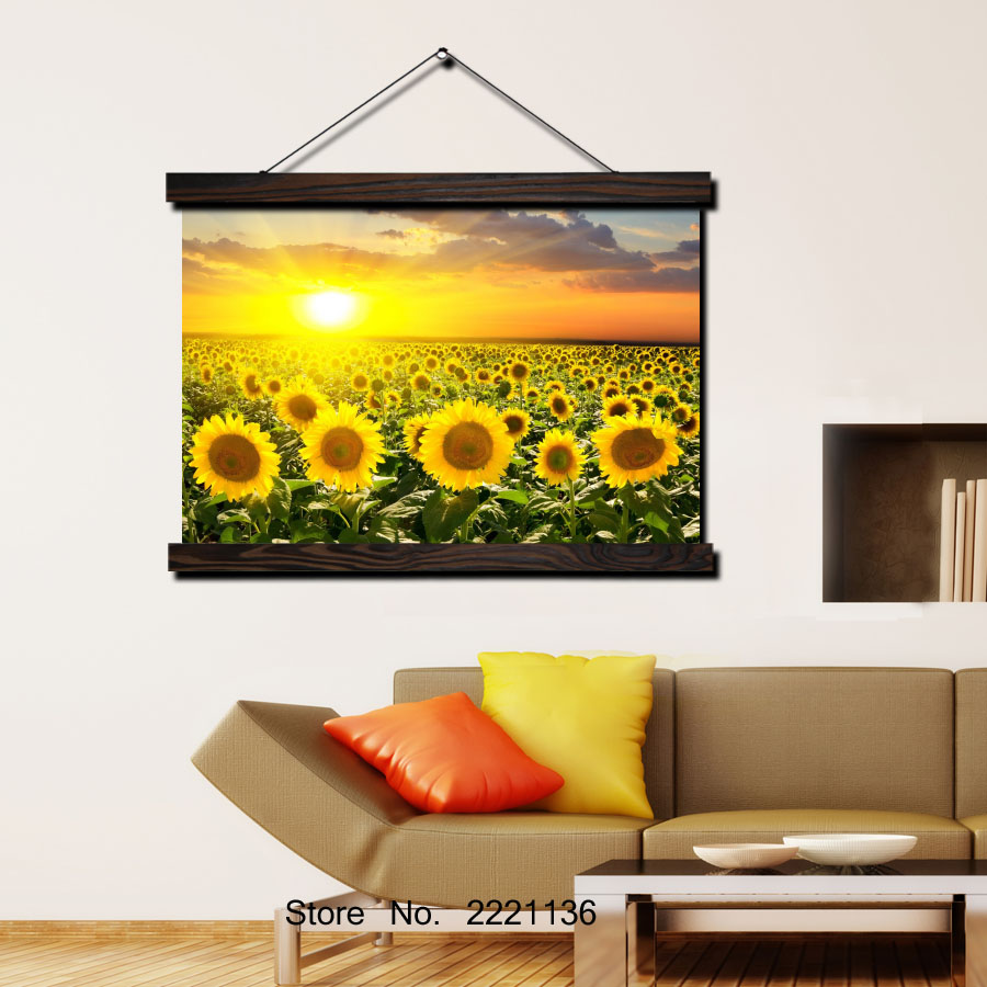 Sunflower Field Pictures HD Print Scroll Paintings Wall Art Printed ...