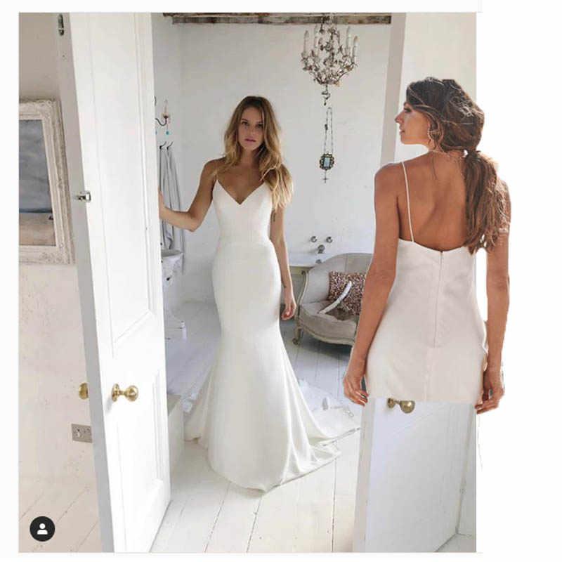 Lorie sereia praia vestido de casamento cintas de espaguete 2019 sereia vestido de noiva feito sob encomenda sexy fada branco marfim vestido de casamento