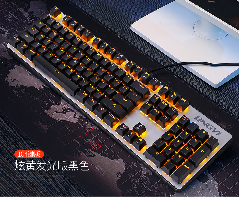 104 touches LED rétro-éclairage mécanique clavier de jeu commutateur bleu/noir multimédia suspendu filaire USB ordinateur Keybooard pour Gamer