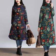 2017 Spring Autumn New Cotton Dress Vintage Warm  Sleeve Print Floral Fashion Loose  Dress Robes