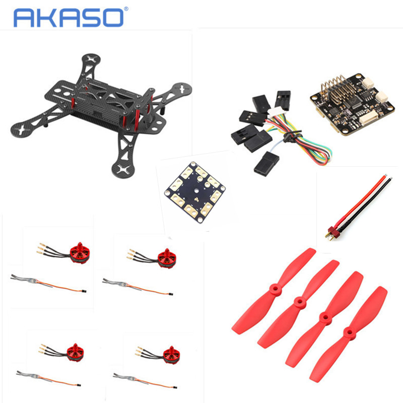 AKASO (Unassembled Kit ) Carbon Fiber Mini QAV250 ZMR250 Quadcopter Brushless 2204 2300KV Motor 12A Esc CC3D Flight Control Prop carbon fiber mini 250 rc quadcopter frame mt1806 2280kv brushless motor for drone helicopter remote control
