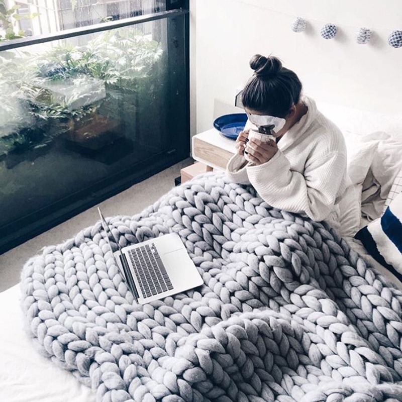 1 шт. теплое зимнее ручной работы массивное вязаное одеяло толстая пряжа мериносовая шерсть объемное вязаное одеяло диван-кровать домашний ...