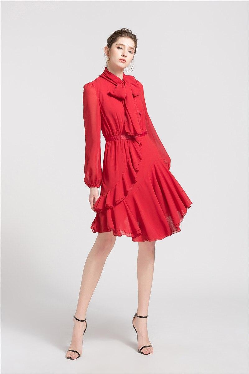 SIPAIYA 2019 irrégulière femmes robes en mousseline de soie solide doux rose rouge pleine lanterne manches mer côté vacances volants mince dame robe