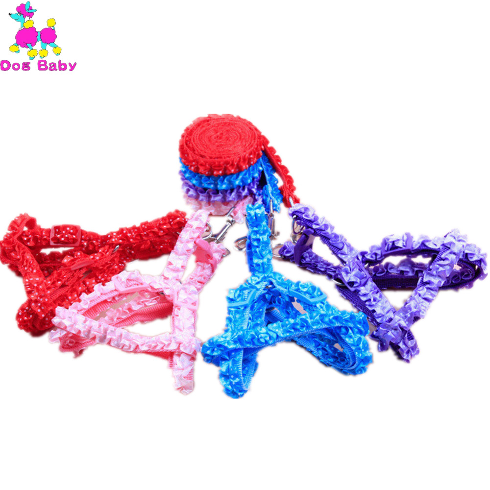 DOGBABY Lace Pet Harnesses Thoracodorsal Traction Rope Small Fresh Style Dogs Collars&Leads Size S Red Blue Purple Pink Color