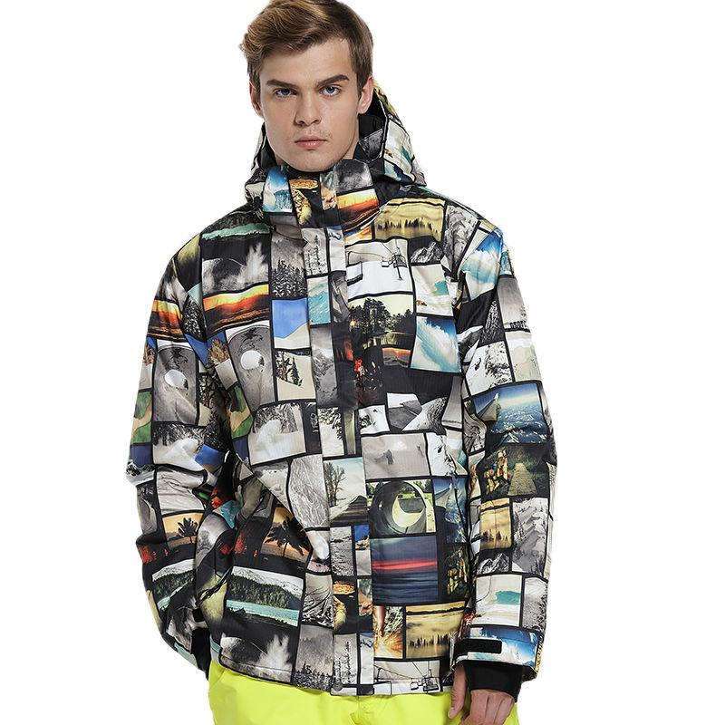 Gsou Snow  Men Waterproof Ski Jacket Snowboarding Jacket Warmth Windproof -30 Degree