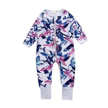 2019 Newborn Boy Girl Coverall Spring Autumn Cotton Floral Jumpsuit Baby Long Sleeve Zipped Kids Clothes Baby Romper picturesque childhood thanksgiving 3 1 baby boy s floral romper baby pajamas cotton long sleeve five leaf flowers