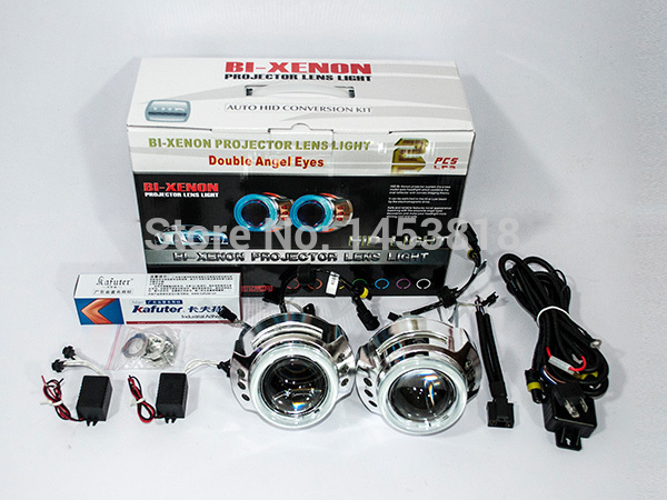 3.0HQI 35w 3'' inch Bi Projector Lens double Angel Eye Lamp for car H4 H1 H7 H11 HB3 HB4 9004 9007 4300K 5000k 6000k 8000k