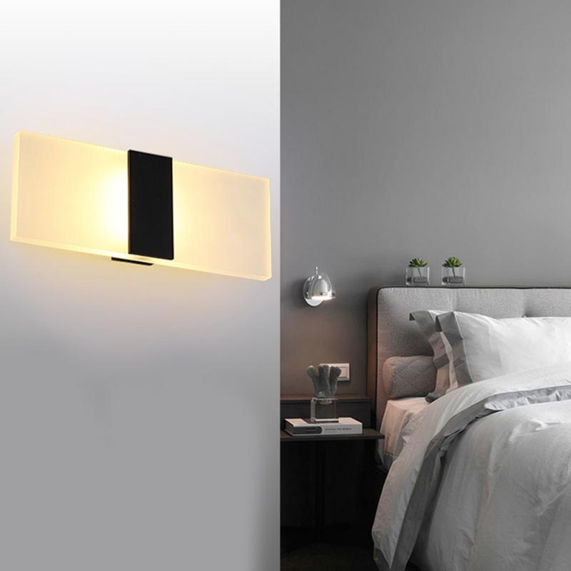 1pc Led Wall Lamp Bedroom Light Corridor Luminaire 85-265v Night Light Wall Light For Living Room Push Button Switch Lights & Lighting Led Indoor Wall Lamps