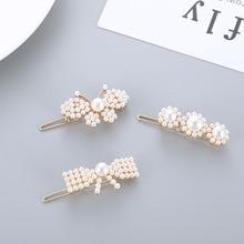 купить Mossovy Bow Tie Butterfly Flower Pearl Hair Clip Trend Hair Pins Hair Jewelry for Women Female Duckbill Clip Barrette Pearl по цене 39.6 рублей