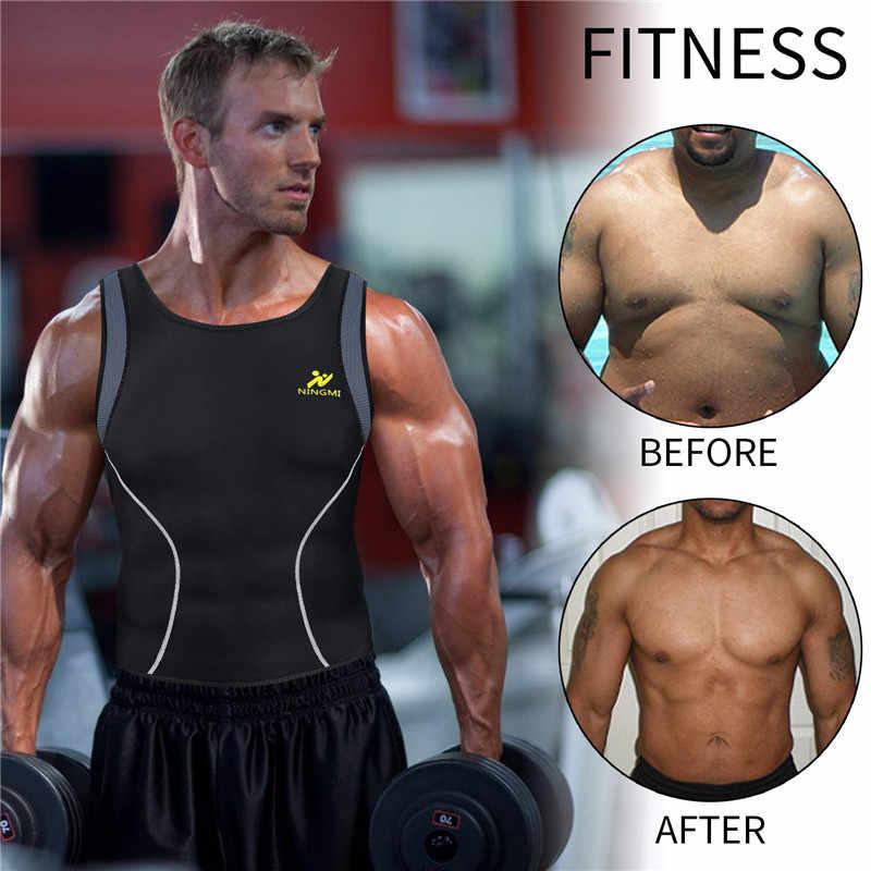 NINGMI Herren Abnehmen Weste HEIßER Hemd Fitness Gewicht Verlust Schweiß Sauna Anzug Taille Trainer Körper Shaper Neopren Tank Top mit zipper