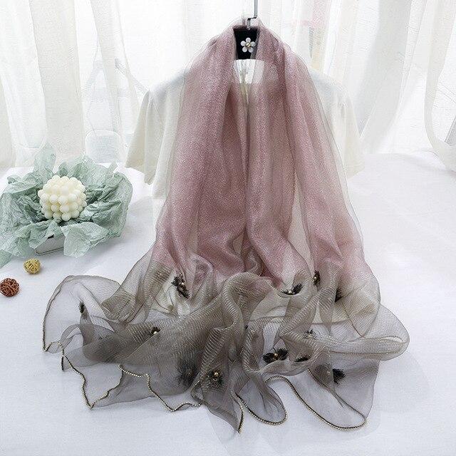Brand 2020 Luxury Beads Silk Wool Scarf For Women Shawls High Quality Pashmina Girls Scarves Wrap Bandana Foulard Femme Hijab