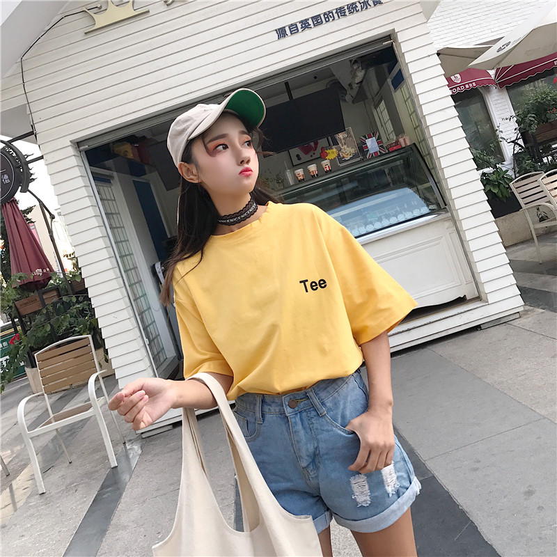 2018 Summer Kpop Harajuku Summer T shirt Cotton Short Sleeve Front Back Letters Printing Top BF Style Ulzzang Girls Tee